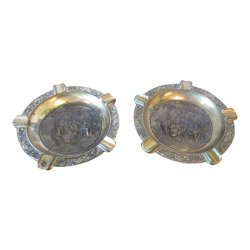 Vintage Italian Medieval Relief Brass Ashtrays