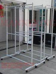 MS (Mild Steel) Heavy Duty Adjustable Height Hanging Rolling Rack / Garment Stand