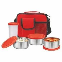 Faisal Raza Red And Black Polyester Lunch Box Bag