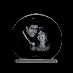 Stone Golden Optic Crystal Photo Frame, For Gift, Size: Full