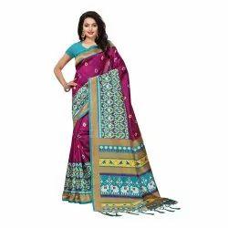 Magenta Colored Poly Silk Casual Saree