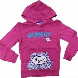 Casual Wear Kids Pink Printed Hoody