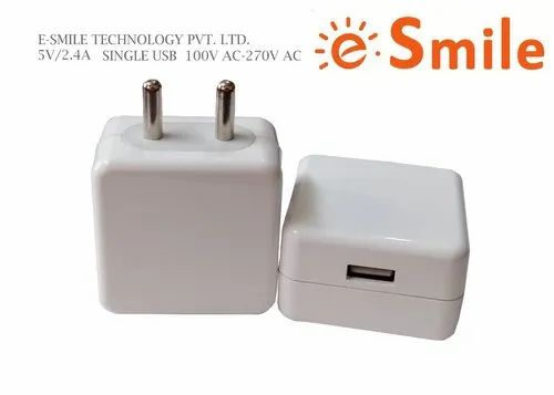 E.Smile 2.4 Amp White Travel Charger with Single USB