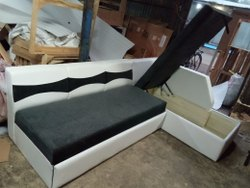 L Shape White and Grey Leather Sofa Set, For Home