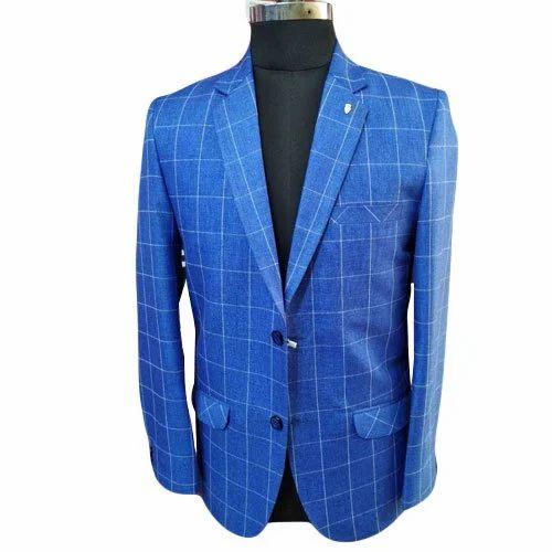 3a72ad38761d Men's Cotton Blue Check Blazer, Size: 36 To 42 Inch, Rs 2600 /piece ...