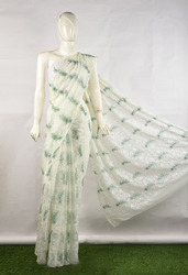 Ladies Georgette Chikan Embroidered Saree