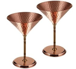 Hammered Copper Martini Glass