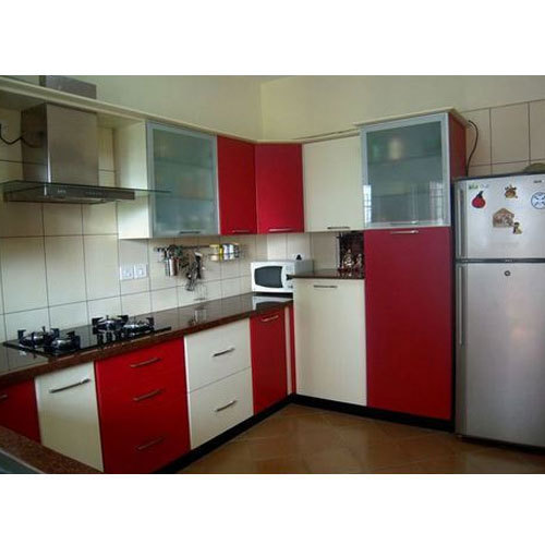 Colourful Modular Kitchen Design: Red And White Designer Modular Kitchen, Rs 1000 /square Feet, Keerthana Woods