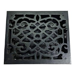 Gadarenes Black Antique Iron Wall and Floor Register with Cast Iron Louver