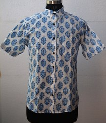 Hand Block Print Cotton Shirt Mens Floral Printed Shirt
