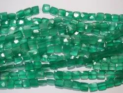 Green Onyx Faceted Rectangle Stone Beads