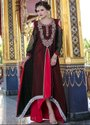 Beautiful Black and Carmine Red Maxi Style Kaftan