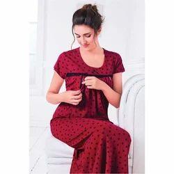 Ladies Half Sleeve Feeding Night Gown, Size: XL