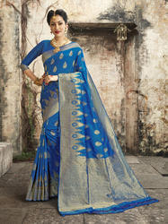 Exclusive Blue Banarasi Weaving Silk Saree With Blouse Piece