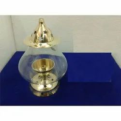 Brass Akhand Diya With Glass Cover