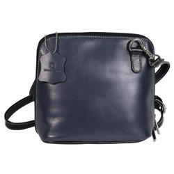 Black Leather Ladies Blue Hand Bag
