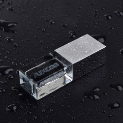 Crystal USB Pendrive With Metallic Cover
