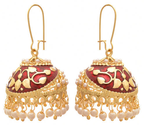 e9272e2796 JFL and jfl Gold jfl - one gram plated pearl meenakari designer jhumki