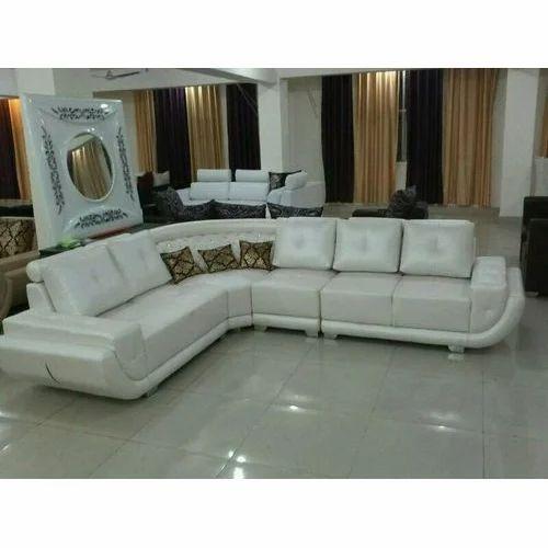 L Shape White Sofa Set