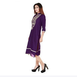 Purple Cotton Pashmina Kurti