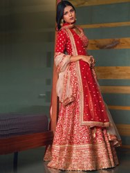 Fancy Designer Women's Red Silk Lehenga Choli By Parvati Fabric(76656)