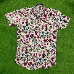 Collar Neck Mens Rayon Printed Shirt
