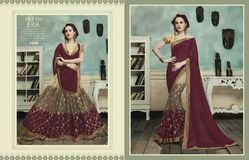 Beautiful Maroon  Brasso Jacquard Saree