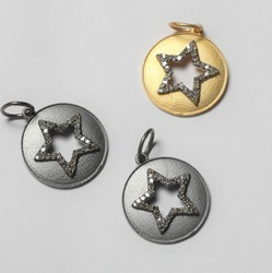Round With Star Charm Natural Diamond Charms in 925 Sterling Silver