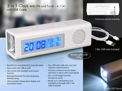 A114 - 3 In 1 Clock With FM And Torch With Dual Power Option (With Usb Wire)