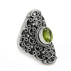 Paradise Bloom 925 Sterling Silver Peridot Ring
