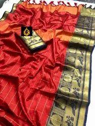 Thankar Block Prints Designer Festive Wear Cotton Silk Saree, 6.3 m (With Blouse Piece)
