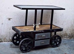 FurnitureRoots Industrial Kitchen Island Cart with Iron Top for Restaurants, 105x45x90 Cm
