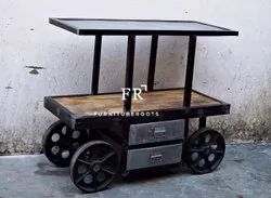 Kitchen Island Cart with Iron Top for Restaurants