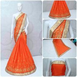 Riva Enterprise Chinon Silk Designer Saree with blouse piece