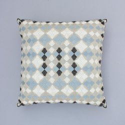 Geometrical Embroidery Cotton Cushion Cover