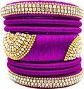 Purple silk thread  bangle set