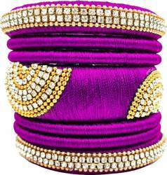 Purple silk thread  bangle set