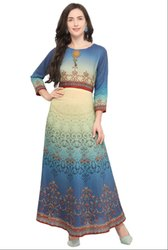 Multicolor Abstract Print Art Silk Gown