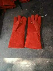 White Red Leather Welding Gloves, Size: Large