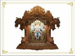 Hand-carved Teak Wood Handcarved Wooden Pooja Mandir, 100kg, Size: H 7 Ft * W 5ft * D 2ft