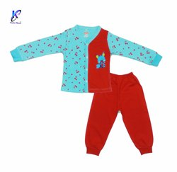Kids Bi Color Printed Front Open Shirt With Jocker