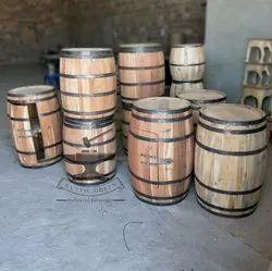 Decorative Reclaimed Wood Storage Wine Barrel