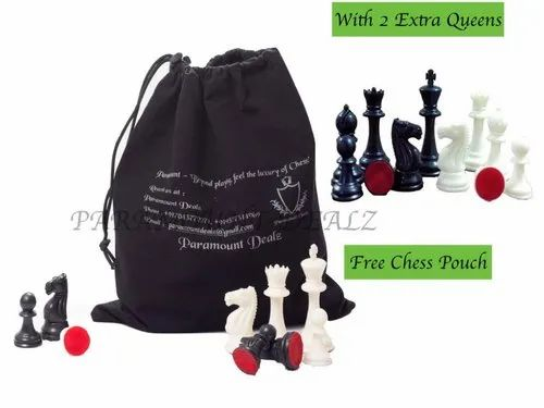 """Paramount Dealz Plastic 4"""" King Height Fide Tournament Chess Pieces with 2 Extra Queens,Carry Pouch"""