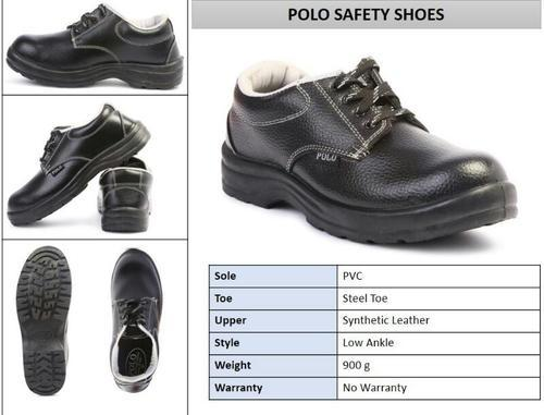 6e90824384c Black Synthetic Leather Indcare Polo Safety Shoes