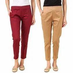 Regular Fit Plain Ladies Cotton Lycra Straight Pants