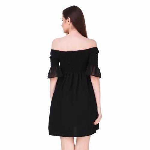 7188ed789400 Crepe Black Plain One Piece Short Dress, Rs 420 /piece, Sixteen ...
