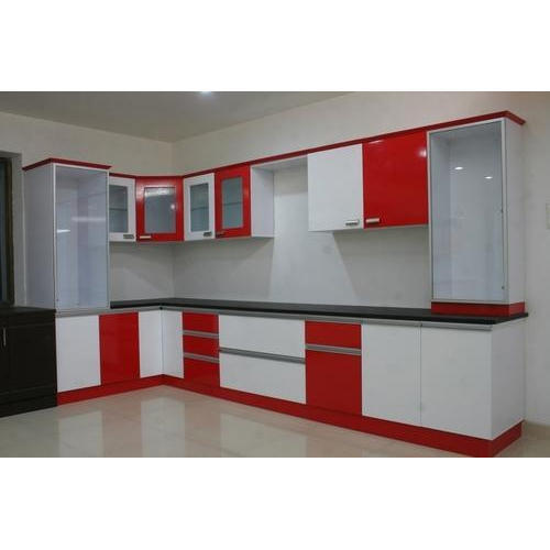 Red And White Wooden Modular Kitchen Cabinet Rs 20000 Unit Megha Solutions Id 19768032091