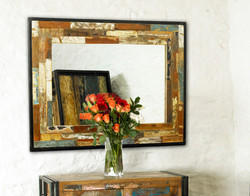Wooden Thick Border Mirror Frame, Recycled Wood Frame Mirror
