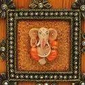 Wooden Kundan Work Lord Ganesh Triple Hook Key Hanger