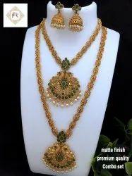 Karishma Kreations Matte Finish Combo Jewellery Set-Combo13Green